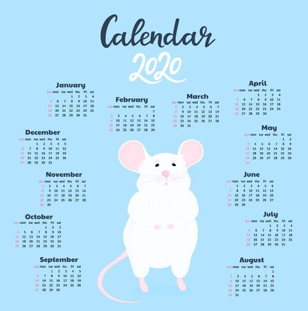 White rat with a pink tail. Calendar for 2020 from Sunday to Saturday