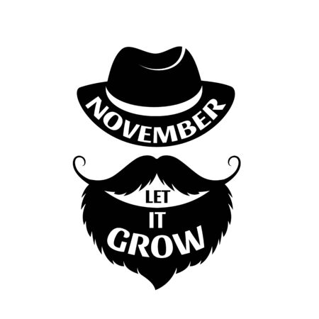 Let it Grow. November. Bearded man with a mustache in a hat.