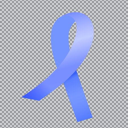 Realistic blue satin ribbon isolated on transparent