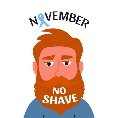 Prostate cancer awareness month. Bearded man with a mustache with the inscription on the beard No shave Иллюстрация