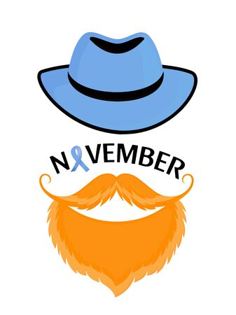 Light blue ribbon as symbol of prostate cancer awareness. Bearded man with a mustache in a hat