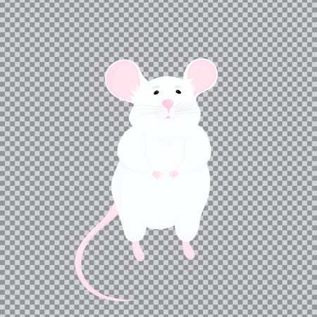 White rat with pink ears and a tail. the symbol of the Chinese New Year 2020. Laboratory animal