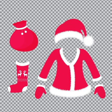 Santa Claus outfit and accessories - hat with fluffy pom pom, suit, mittens, sock with deer, bag with gifts. New Year and Christmas decoration isolated on transparent background Иллюстрация