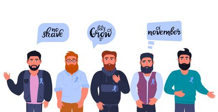 Group of multicultural bearded men with blue ribbons. Motivational slogans with calls to grow a mustache and beards in support of patients with prostate cancer. November awareness month. Man s health. Иллюстрация