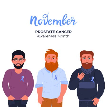 Men with beards and mustaches with blue ribbons pinned to the chest. Prostate cancer awareness month. November. Men s health concept.