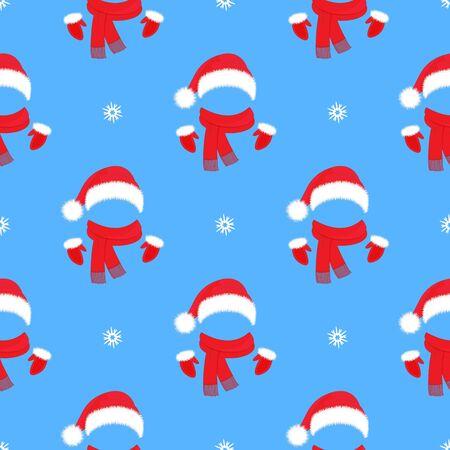 Modèle sans couture de Noël. Bonnet, mitaines et écharpe du Père Noël. Décoration du nouvel an Vecteurs