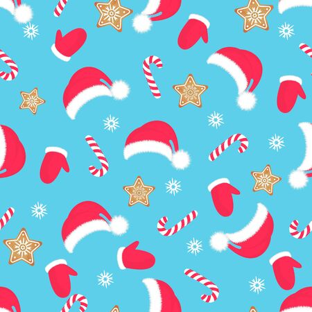 Christmas seamless pattern. Santa Claus hat, mittens, gingerbread, lollipop. New Year s decoration