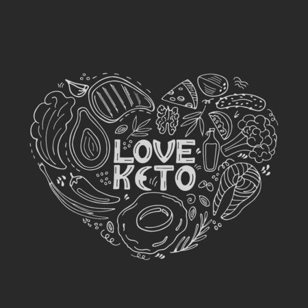 Love Keto hand drawn banner. Ketogenic food low carb and protein, high fat. Paleo diet. Healthy eating in doodle style. Chalked on a blackboard. Line art