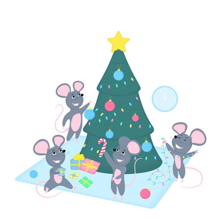 Funny cartoon rats decorate the Christmas tree. Preparation for the 202 Chinese New year. Cute smiling mice with gifts, garland, holiday balls. Greeting card for winter celebrations. Иллюстрация
