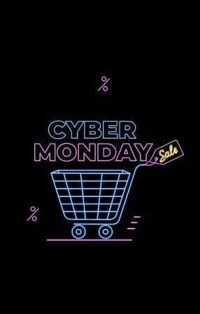 Cyber Monday deal. Seasonal Sale. Online shopping , internet ads in neon style. E-commerce. Slashing price. Promotional banners with shopping trolley