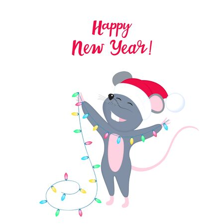 Rat is a symbol of Chinese New Year 2020. Funny cartoon mouse in the hat of Santa Claus. Cute smiling mice holds light garland for decorating Christmas tree. Greeting card for winter celebrations.