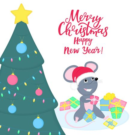 Cute rat or mouse in Santa Claus hat is sitting in a pile of gifts under the Christmas tree. 2020 Chinese New year. Funny cartoon smiling mice. Greeting card for winter celebrations
