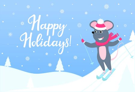 The mouse is skiing. Happy Holidays horizontal banner with winter landscape. Greeting card for New Year 2020 and Christmas Иллюстрация