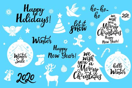 Merry Christmas. New Year 2020. Let it snow. Happy Holidays. Set of festive phrases for greeting card.