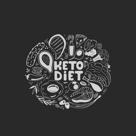Keto diet hand drawn banner. Ketogenic food low carb and protein, high fat. Paleo diet. Healthy eating in doodle style. Chalked on a blackboard. Line art Фото со стока - 134920744