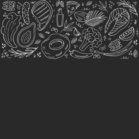 Keto food hand drawn banner with copy space. Ketogenic low carb and protein, high fat. Paleo diet. Healthy eating in doodle style. Chalked on a blackboard. Line art. Иллюстрация
