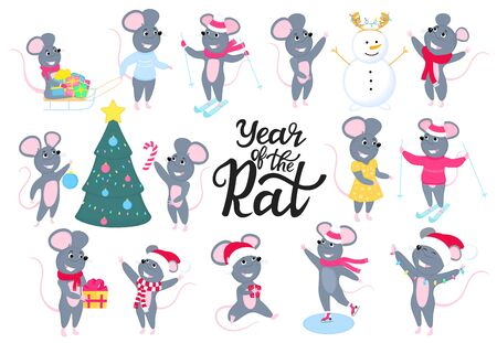 Rats. Funny mice. Gray rodents. New 2020 Chinese New Year. Big set mouse. Cartoon characters. Merry Christmas. Иллюстрация