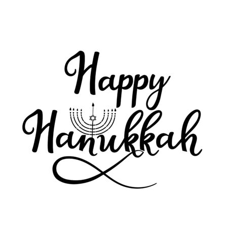 Happy Hanukkah hand drawn lettering with menorah for greeting card.