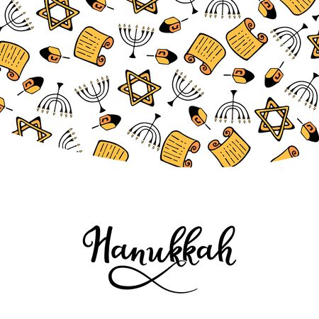 Happy Hanukkah. Chanukah Traditional attributes of the menorah, dreidel, Torah in doodle style. Round frame, hand lettering