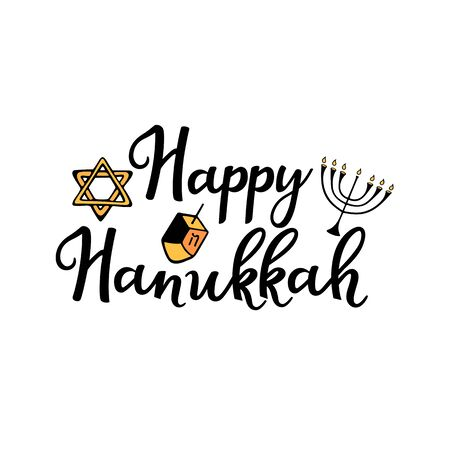 Happy Hanukkah. Chanukah Traditional attributes of the menorah, dreidel, Torah in doodle style. Hand drawn lettering Illustration