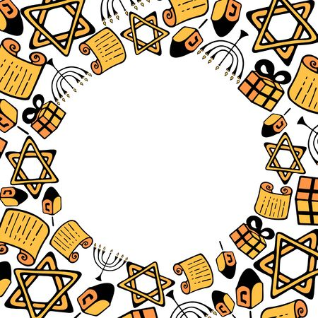 Happy Hanukkah. Chanukah Traditional attributes of the menorah, dreidel, Torah in doodle style. Round frame.