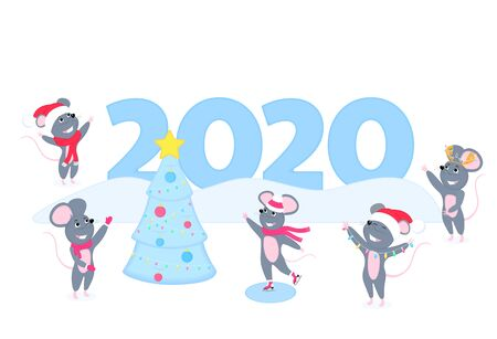 Rats. Funny mice. Gray rodents. New Chinese New Year. Mouses near the huge inscription 2020. Cartoon characters. Merry Christmas.