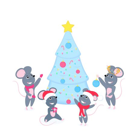 Funny cartoon rats decorate the Christmas tree. Chinese New Year 2020. Cute smiling mouses with gifts, garland, holiday balls. Greeting card for winter celebrations Иллюстрация