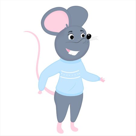 Gray cartoon mouse in a blue sweater. Rat is a symbol of Chinese New Year 2020 Фото со стока - 134920670