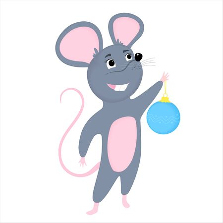ray cartoon mouse holds a Christmas ball. Rat is a symbol of Chinese New Year 2020 Фото со стока - 134920672
