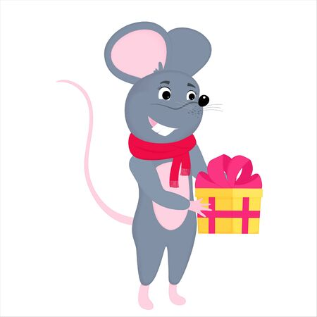 Gray cartoon mouse holds a box with a gift. Rat is a symbol of Chinese New Year 2020 Иллюстрация