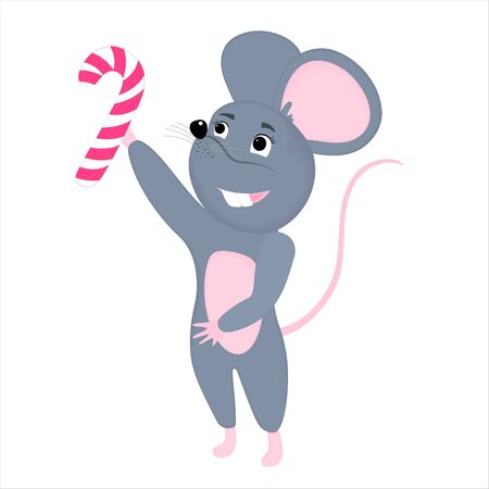 Gray cartoon mouse holds a striped lollipop. Rat is a symbol of Chinese New Year 2020 Фото со стока - 134920674