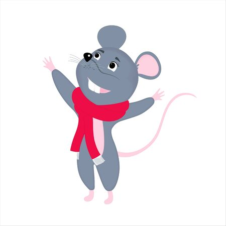 Gray cartoon mouse in a red scarf. Rat is a symbol of Chinese New Year 2020 Фото со стока - 134920679