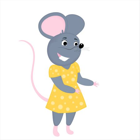 Gray cartoon mouse in a yellow dress. Rat is a symbol of Chinese New Year 2020 Фото со стока - 134920680