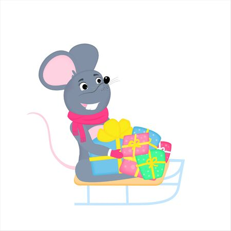 Gray cartoon mouse sits on a sled with gifts. Rat is a symbol of Chinese New Year 2020