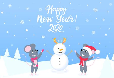 Two mice in the forest sculpt a snowman. Happy New Year horizontal banner with winter landscape. Greeting card.