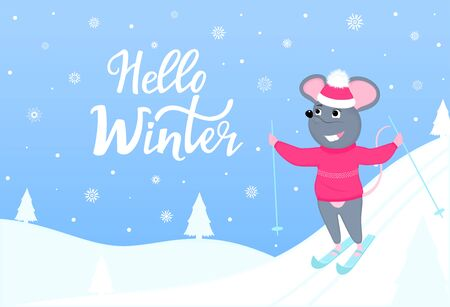 The mouse is skiing. Hello winter horizontal banner with winter landscape. Greeting card for New Year 2020 and Christmas. Иллюстрация