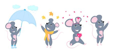 A set of mice. Little mouse. Rats with umbrella, in a scarf, with a heart-shaped gift for Valentines Day