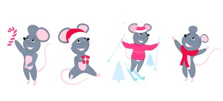 A set of mice. Little mouse. Rats with candy, skiing, wearing a Santa hat Фото со стока - 134920692