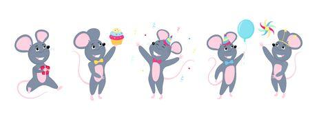 A set of mice. Little mouse. Rats celebrate birthday Фото со стока - 134920693