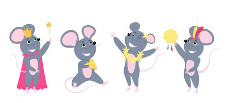A set of mice. Little mouse with cheese. Rats cartoon characters
