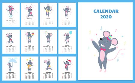 Calendar for 2020 from Sunday to Saturday. Cute rats in different costumes. The symbol of the Chinese New Year. Mouse cartoon character. Funny mice. Фото со стока - 134920696