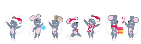 A set of mice. Little mouse. Rats celebrate New Year with a Christmas ball, in a Santa hat, in a scarf, with a gift Иллюстрация