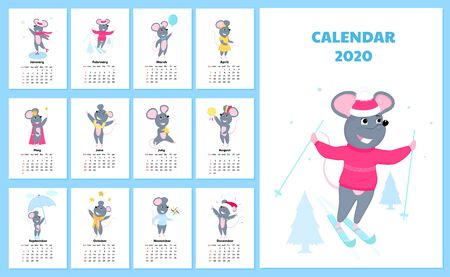 Calendar for 2020 from Sunday to Saturday. Cute rats in different costumes. The symbol of the Chinese New Year. Mouse cartoon character. Funny animal. Иллюстрация