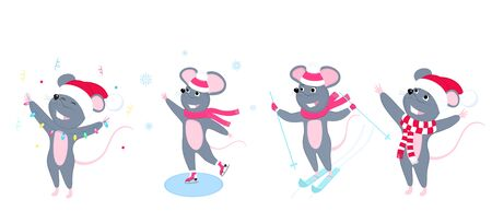 A set of mice. Little mouse. Rats. Winter fun. Skiing, ice skating. Иллюстрация