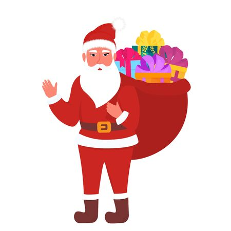 Santa Claus carries a full bag of gifts. New Year 2020