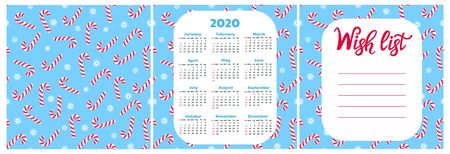 Wish list. Wall calendar for 2020. Snowflake and lollypop seamless pattern. Christmas background.