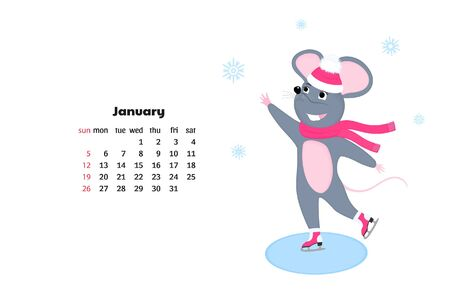 Mouse skating. Rat is a symbol of Chinese New Year. Calendar for January 2020
