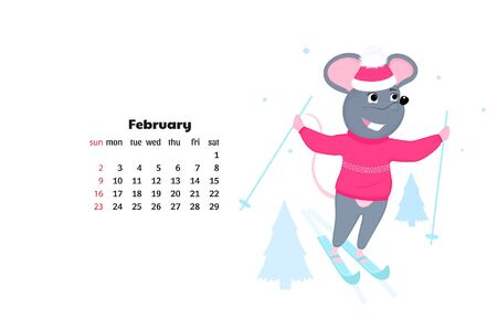 Mouse skating skiing. Rat is a symbol of Chinese New Year. February Calendar 2020 Фото со стока - 135931122