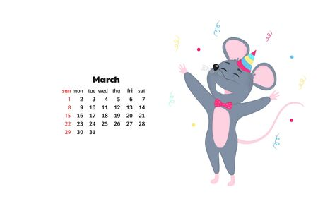 March calendar 2020. Rat celebrate Birthday. Funny Mouse. Monthly calendar