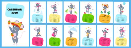 Calendar for 2020 from Sunday to Saturday. Cute rats in different costumes. The symbol of the Chinese New Year. Mouse cartoon character. Funny animal. Фото со стока - 135931125